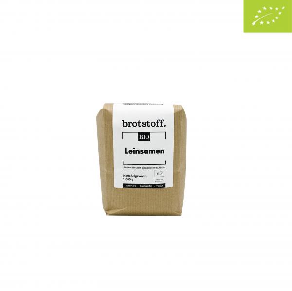 brotstoff - Bio - Leinsaat - braun - Beutel - vorne