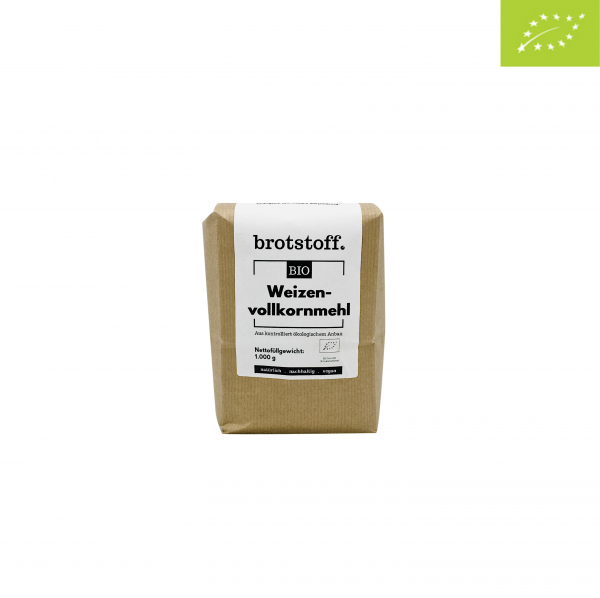 brotstoff - Bio - Weizenvollkornmehl - Beutel - vorne