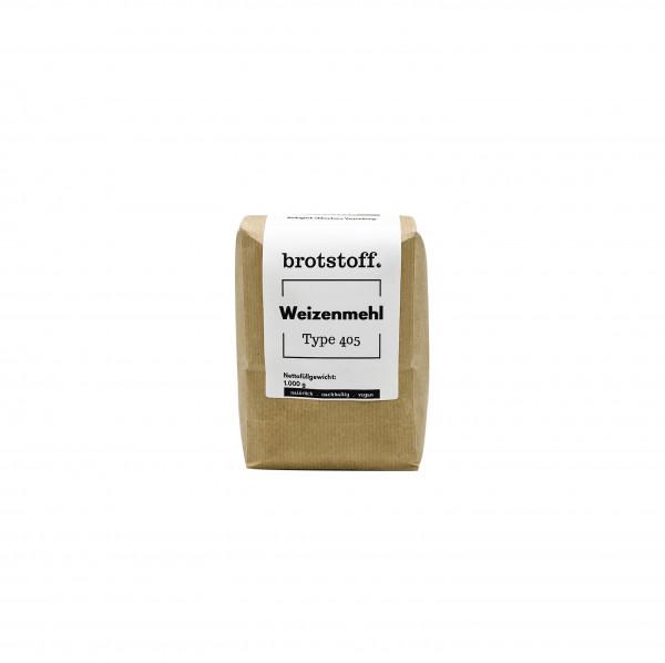 brotstoff - Auszugsmehl - Weizenmehl - Type 405 - kompostierbare, nachhaltige Verpackung - von vorne