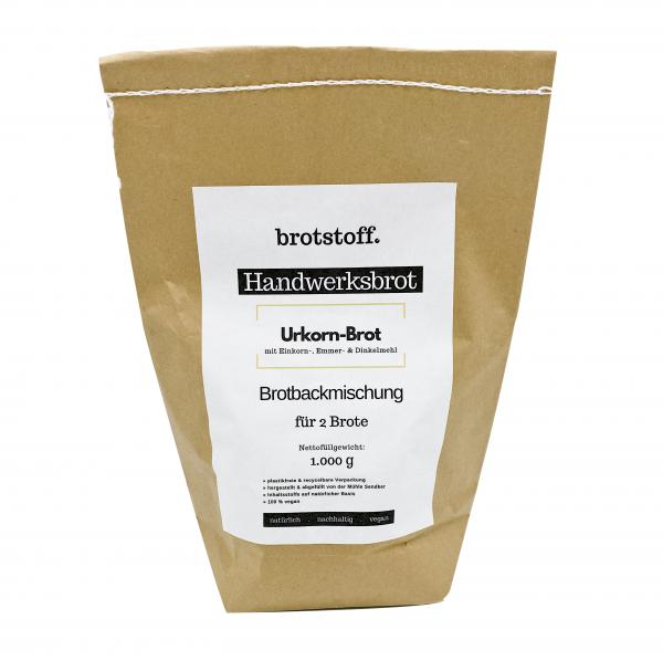 brotstoff - Handwerksbrot - Urkorn-Brot - plastikfreie Verpackung von vorne