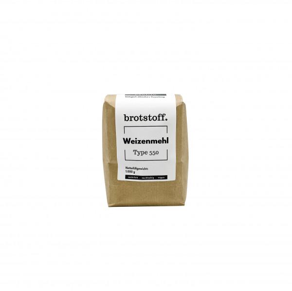 brotstoff - Auszugsmehle - Weizenmehl - Type 550 - kompostierbare Verpackung - von vorne